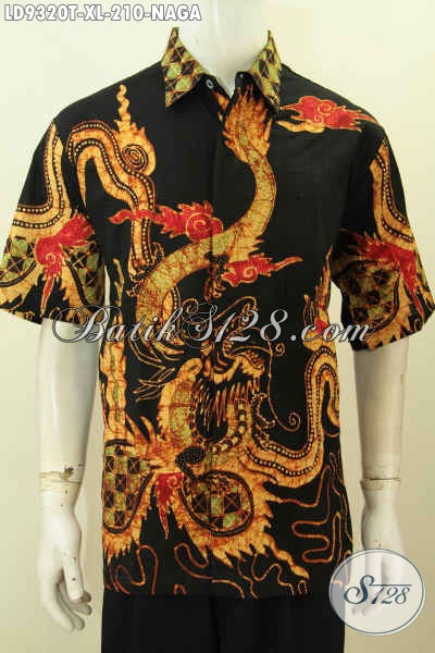 Baju Batik Pria Premium, Hem Lenga Pendek Motif Naga Proses Tulis Kwalitas Istimewa, Di Jual Online 210 Ribu, Pas Buat Kerja Dan Acara Santai [LD9320T-XL]