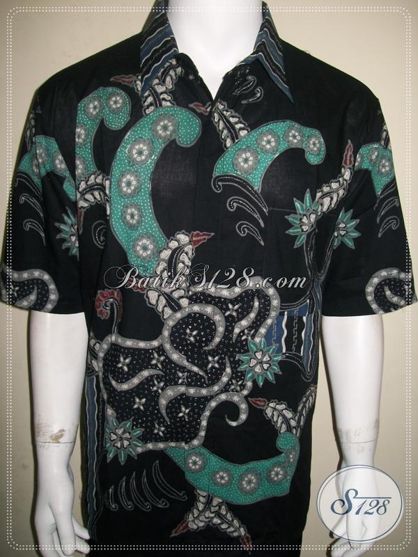 Hem Batik Modern Pria, Batik Tulis Unik Abstrak Tangan Pendek [LD932T-XL]