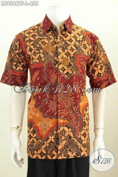 Baju Batik Atasan Pria, Kemeja Batik Mewah Motif Berkelas Proses Tulis Model Lengan Pendek Daleman Full Furing Harga 400 Ribuan Saja [LD9388TF-L]
