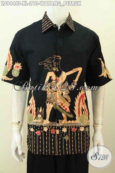 Baju Batik Hem Lengan Pendek Istimewa, Pakaian Batik Halus Motif Wayang Petruk Nan Keren, Bahan Halus Proses Tulis Harga 210K [LD9446T-XL]