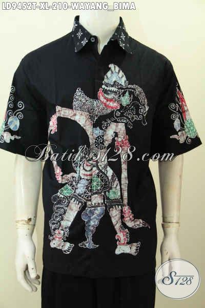 Koleksi Terbaru Hem Batik Pria Dewasa Lengan Pendek Proses Tulis, Baju Batik Solo Motif Wayang Bima Harga 210K [LD9452T-XXL]