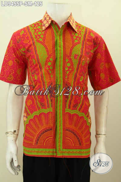 Pakaian Batik Kerja Elegan, Hem Batik Solo Istimewa Model Lengan Pendek Motif Klasik Warna Merah, Tampil Gagah Dan Tampan [LD9455P-S]
