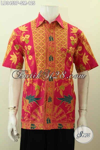Hem Batik Keren Modis Desain Berkelas, Baju Batik Pria Lengan Pendek Istimewa Proses Printing Buatan Solo Asli Harga 125K [LD9459P-M]
