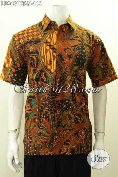 Hem Batik Halus Elegan Model Lengan Pendek, Pakaian Batik Seragam Kerja Pria Terbaru Yang Bikin Penampilan Mempesona [LD9481BT-M]