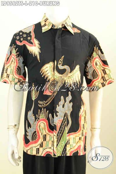 Batik Hem Solo Terkini, Kemeja Batik Jawa Tengah Halus Lengan Pendek Modern Motif Burung, Bisa Buat Kerja Dan Acara Pesta Harga 210K [LD9562TS-L]