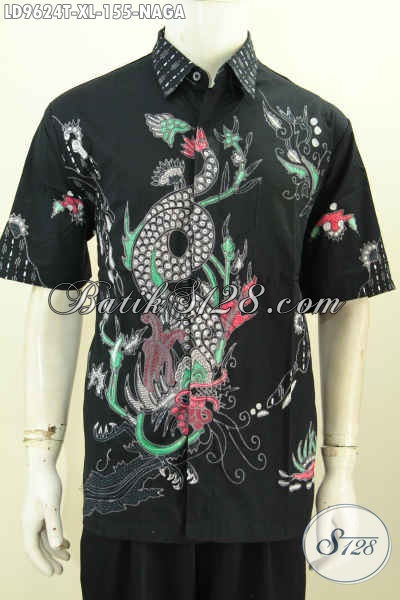 Batik motif naga warna hitam modern