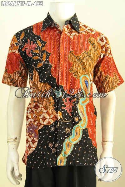Jual Kemeja Batik Tulis Lengan Pendek, Pakaian Batik Berkelas Full Furing Untuk Kerja Dan Acara Resmi Hanya 455K [LD9657TF-M]