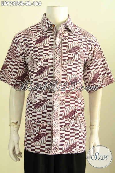 Produk Kemeja Batik Lengan Pendek Kekinian, Hem Batik Modern Klasik Proses Cap Warna Alam, Pilihan Tepat Untuk Tampil Gagah Dan Tampan [LD9785CA-XL]