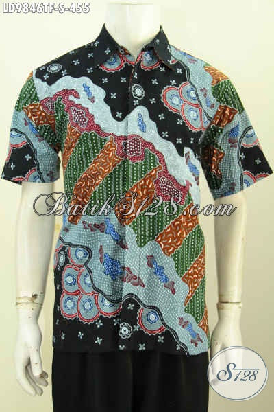 Hem Batik Mewah Lengan Pendek, Kemeja Batik Premium Full Furing Spesial Untuk Pria Muda Motif Keren Proses Tulis 400 Ribuan [LD9846TF-S]
