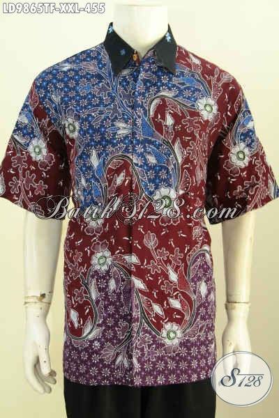 Hem Batik Big Size Lengan Pendek, Kemeja Batik Premium Solo Full Furing Motif Mewah Proses Tulis, Pria Gemuk Tampil Beda [LD9865TF-XXL]
