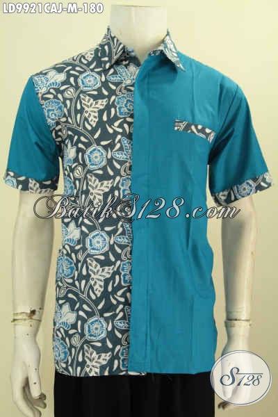 Fashion Batik Solo Trend 2020, Busana Batik Kombinasi Kain Polos Motif Terkini Bahan Adem Warna Biru Proses Cap Warna Alam Kombinasi Katun Jepang Model Lengan Pendek 180K [LD9921CAJ-M]