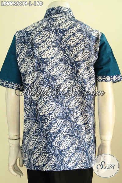 Baju Batik Pria Elegan, Hadir Dengan Motif Klasik Kombinasi Bahan Polos Warna Biru, Pakaian Batik Lengan Pendek Proses Cap Trend Mode 2020 [LD9935CJ-L]