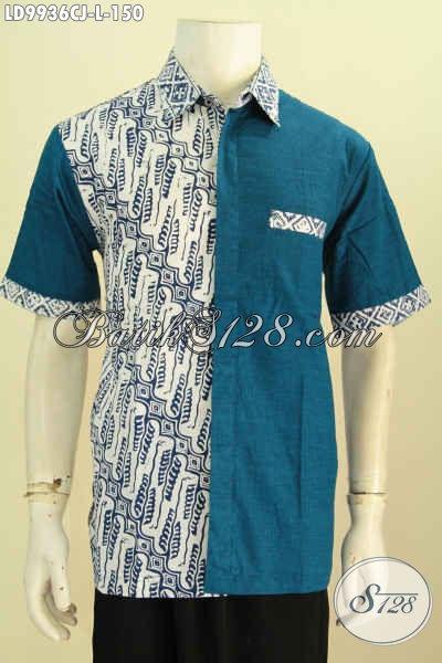 Batik Hem Solo Klasik Desain Modern Kombinasi Bahan Polos, Baju Batik Kerja Pria Kantoran Penampilan Keren Dan Beda [LD9936CJ-L]