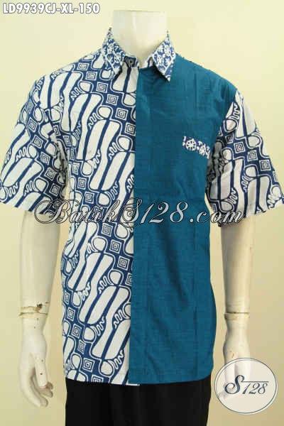 Kemeja batik kombinasi kain polos terbaru