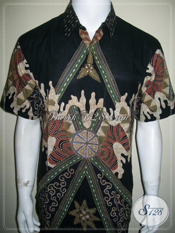 Jual Baju Batik Tulis Pria Warna Hitam Lengan Pendek Bagus Banget [LD998T-L]