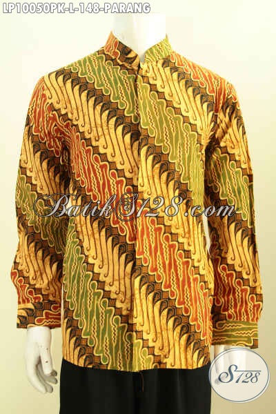 Contoh baju batik pria muslim lengan panjang motif klasik parang