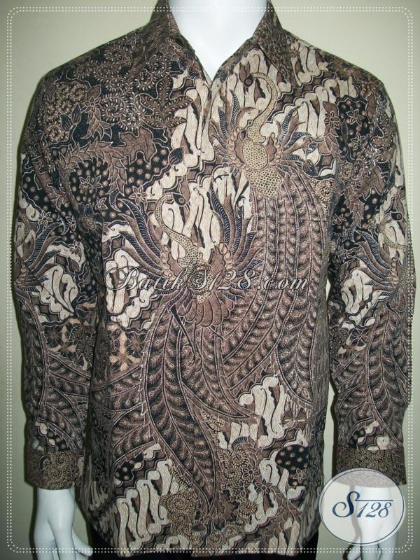 Kemeja Batik Memakai Daleman Furing Lengan Panjang, Motif Burung Merak [LP1007BTD-M]