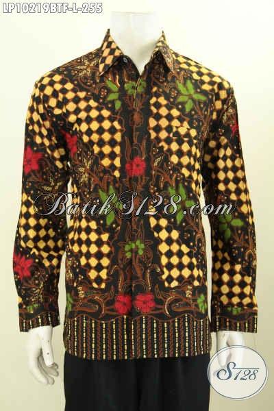 Model Baju Batik Solo Elegan Lengan Panjang Motif Klasik, Pakaian Batik Mewah Halus Full Furing Proses Kombinasi Tulis Hanya 200 Ribuan Saja [LP10219BTF-L]