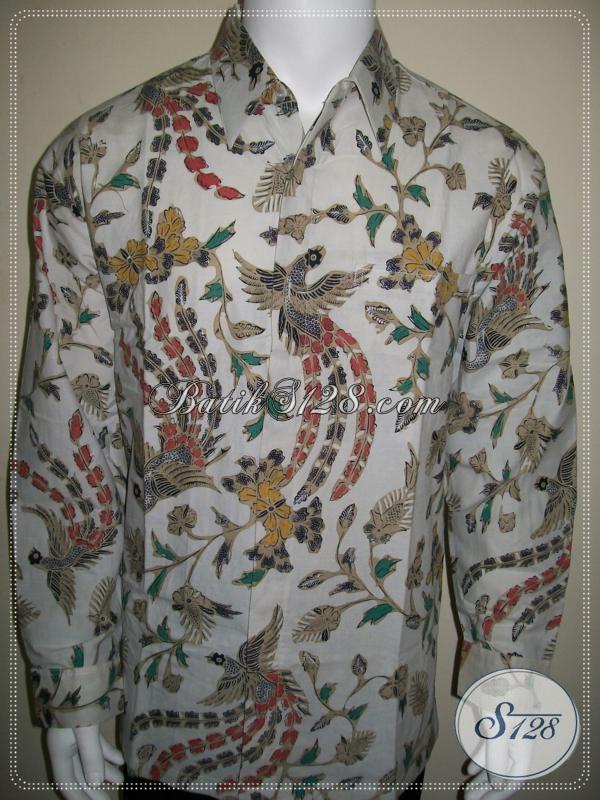 Pakaian Batik Pria Lengan Panjang Warna Putih Bagus Jahitan Halus [LP1023BT-XL]