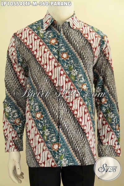 Model Baju Batik Hem Lengan Panjang Motif Parang Klasik Dengan Kombinasi Warna Elegan Berkelas Proses Cap Tulis Pake Furing Harga 300 Ribuan [LP10554CTF-M]