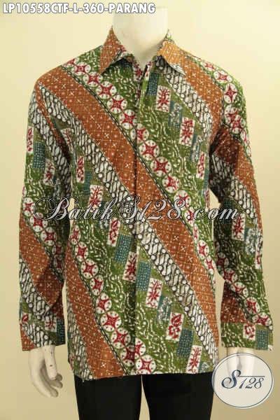 Model Baju Batik Pria Lengan Panjang Nan Elegan, Batik Kemeja Mewah Motif Parang Proses Cap Tulis, Istimewa Buat Kondangan, Size L