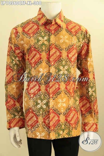 Jual Baju Batik Pria Jaman Now, Kemeja Lengan Panjang Mewah Lengan Panjang Full Furing Motif Klasik Cap Tulis Hanya 360K [LP10560CTF-XL]