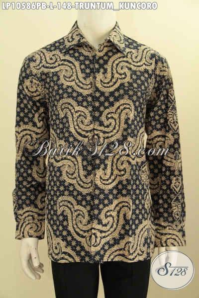 Batik Hem Klasik Motif Truntum Kuncoro, Kemeja Batik Elegan Lengan Panjang Halus Proses Printing Cabut Bikin Pria Terlihat Gagah Mempesona [LP10586PB-L]