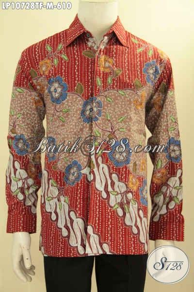 Model Baju Batik Pria Lengan Panjang Eksklusif Elegan Premium Mahal, Pakaian Batik Berkelas Full Furing Motif Klasik Tulis Tangan Asli, Tampil Terlihat Mewah Dan Gagah [LP10728TF-M]