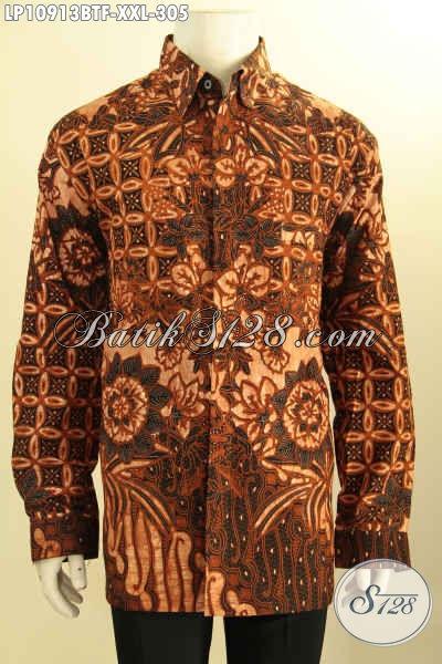 Kemeja Batik Solo Elegan Dan Mewah Untuk Pria Badan Gemuk, Busana Batik Motif Klasik Kombinasi Tulis Lengan Panjang Pakai Furing Hanya 300 Ribuan [LP10913BTF-XXL]