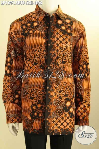 Model Kemeja Batik Jumbo Lengan Panjang Istimewa, Busana Batik ELegan Full Furing Motif Klasik Proses Kombinasi Tulis Yang Membuat Pria Gemuk Terlihat Mempesona [LP10915BTF-XXL]