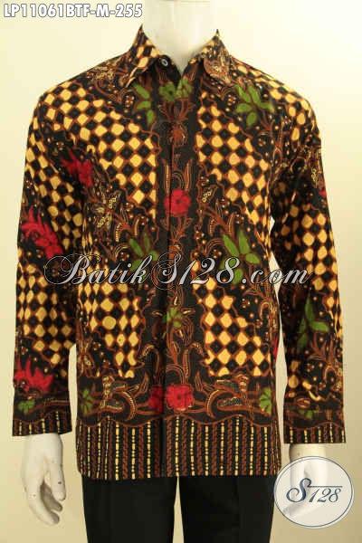 Baju Batik Pria Formal Lengan Panjang Motif Bagus Proses Kombinasi Tulis, Pakaian Batik Berkelas Daleman Full Furing, Tampil Mewah Dengan Harga Terjangkau [LP11061BTF-M]