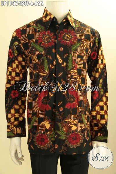 Sedia Pakaian Batik Solo Istimewa Lengan Panjang Full Furing Motif Tren Masa Kini Proses Kombinasi Tulis, Pakaian Batik Solo Asli, Spesial Untuk Pria Kantoran [LP11074BTF-L]