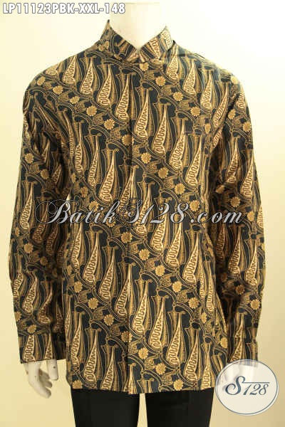 Busana Batik Motif Klasik Lengan Panjang Istimewa, Pakaian Batik Printing Cabut Khas Jawa Tengah Model Koko Kerah Shanghai, Tampil Elegan Berkelas Hanya 100 Ribuan [LP11123PBK-XXL]