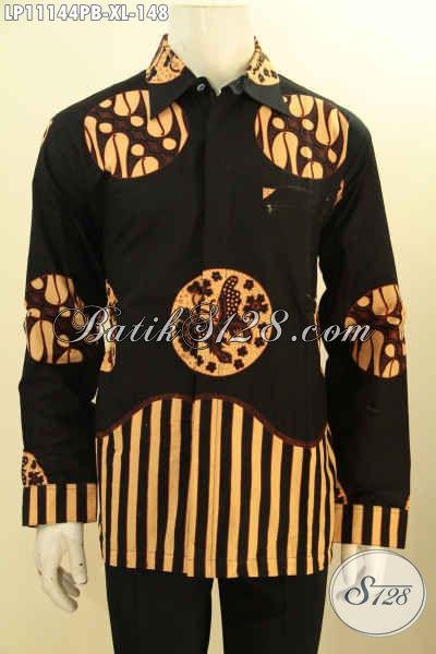 Batik Hem ELegan Warna Hitam Motif Piringan, Pakaian Batik Solo Terbaru Model Lengan Panjang, Penampilan Gagah Dan Menawan Harga Terjangkau