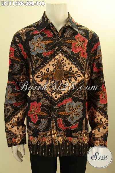 Batik Kemeja Elegan Motif Mewah Proses Printing Cabut, Pakaian Batik Solo Istimewa Model Lengan Panjang, Menunjang Penampilan Nan Mempesona