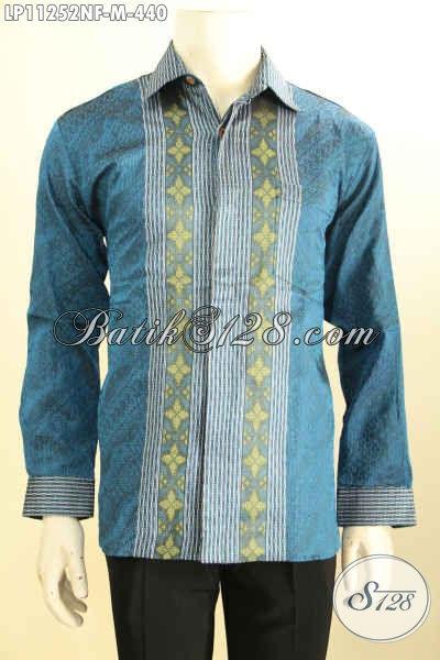 Baju Tenun Mewah Lengan Panjang Motif Bagus, Kemeja Tenun Full Furing Desain Fomal Spesial Untuk Pria Muda Karir Sukses Tampil Gagah Berwibawa [LP11252NF-M]