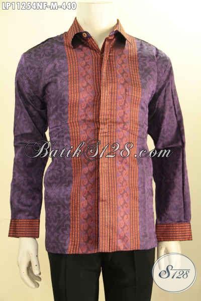 Kemeja Tenun Khas Jawa Tengah, Hem Tenun Modern Kwalitas Premium Model Lengan Panjang Full Furing Untuk Acara Formal Ataupun Kondangan [LP11254NF-M]