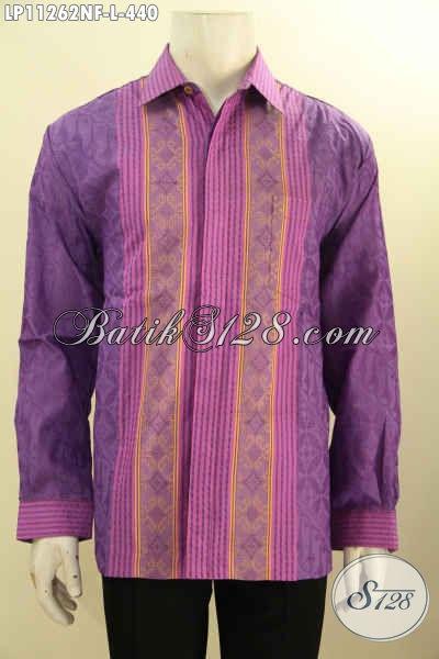 Baju Kemeja Tenun Kwalitas Premium, Hadir Dengan Warna Dan Motif Mewah Model Lengan Panjang Pakai Furing, Spesial Untuk Pria Sukses [LPF11262N-L]