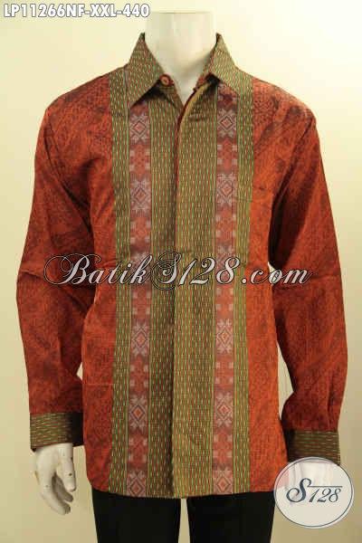 Jual Online Baju Tenun Premium Lengan Panjang Big Size, Kemeja Tenun Full Furing Khas Jawa Tengah Untuk Acara Formal Tampil Berwibawa [LP11266NF-XXL]