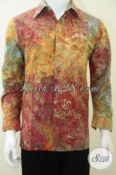 Kemeja Batik Elegan Warna Cerah Bagus Lengan Panjang [LP1944CS-M]