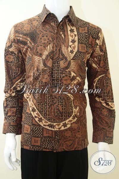 Kemeja Batik Lengan Pajang Pria Motif Klasik Warna Coklat Soga, Untuk Kondangan Acara Resmi [LP1959KTF-M]