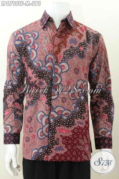 Jual Kemeja Batik Khas Pejabat, Baju Batik Premium Lengan Panjang Pake Furing Berbahan Halus Motif Mewah Proses Tulis Tangan Untuk Terlihat Makin Mempesona [LP6790TF-M]