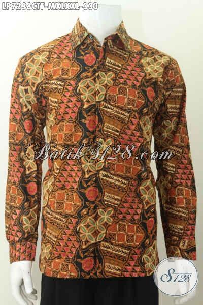 Baju Batik Istimewa Harga Biasa, Kemeja Batik Elegan Halus Lengan Panjang Desain Formal Daleman Full Furing Motif Cap Tulis 330K [LP7238CTF-M]