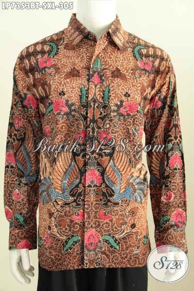 Kemeja Batik Solo Lengan Panjang Motif Klasik Halus Kombinasi Tulis, Pakaian Batik Full Furing 300 Ribuan Untuk Kerja Kantoran [LP7353BTF-XL]