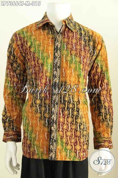 Baju Hem Lengan Panjang Batik Solo Halus Istimewa Model Terkini Motif Bagus Proses Cap Tulis Harga 215K [LP7366CT-M]