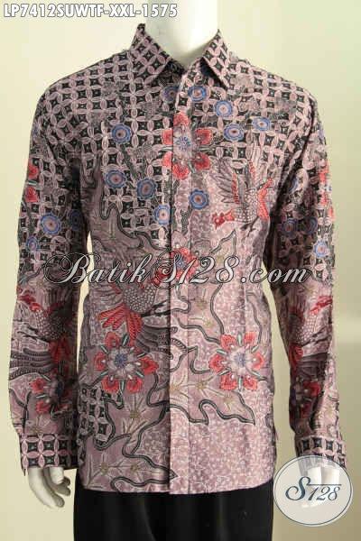 Baju Batik Sutra 3L Lengan Panjang, Busana Batik Premium Full Furing Bahan Halus, Cocok Buat Pria Sukses Dan Executive [LP7412SUWTF-XXL]