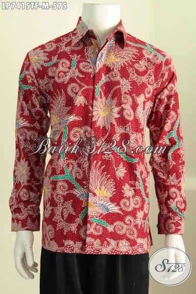 Pusat Batik Premium Online, Jual Hem Lengan Panjang Merah Motif Mewah Proses Full Tulis Daleman Pake Furing Harga 575K [LP7415TF-M]