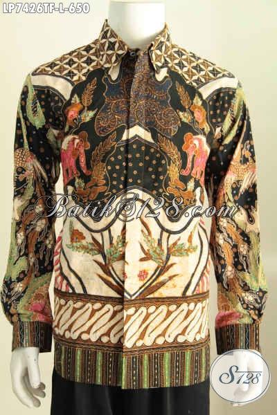 Baju Batik Kerja Elegan Lengan Panjang Motif Klasik, Hem Batik Mewah Pakai Furing Proses Tulis Produk Terbaik Dari Solo Jateng [LP7426TF-L]
