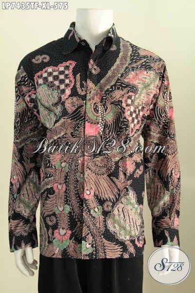 Produk Busana Batik Lengan Panjang Halus Mewah, Kemeja Batik Premium Full Tulis Pakai Furing, Cocok Buat Acara Resmi [LP7435TF-XL]