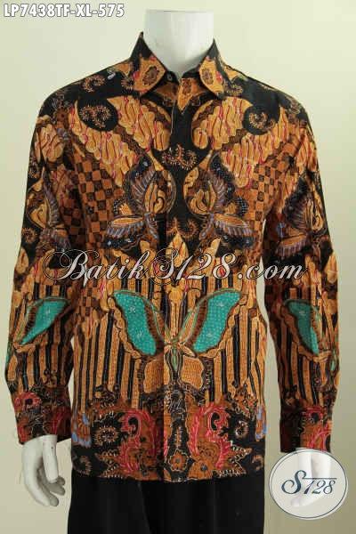 Baju Batik Klasik Elegan Ukuran XL, Pakaian Batik Solo Proses Tulis Bahan Adem Untuk Penampilan Lebih Berkelas Dan Berwibawa [LP7438TF-XL]